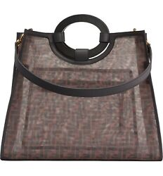 Fendi Runaway PU Shopping Tote Bag Medium Brown Designer Made In Italy