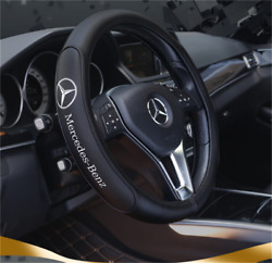 Black 38cm/15inch Steering Wheel Cover For Mercedes Benz Genuine Leather Nice