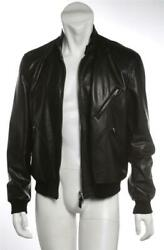 Tom Ford Mens Black Thick Leather Zip-up Ribbed Knit Racer Jacket Coat It54 Us44