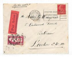 K239 1931 France Aviation 1f50c Red Airmail Issue 1930 Cover Balham London