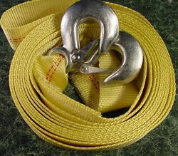 2 Inch By 20 Foot Tow Strap W/ 2 Hooks 10000 Pound Lb Capacity Rope Cable 2x20
