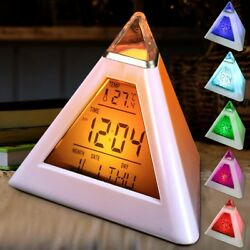 Pyramid LED Clock Color Changing Back Ambient Night Light Alarm Temperature Date