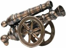 Handcrafted Metal Cannon With Double Barrel 13 Inch Desk Showpiece Table Decor