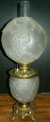 Antique Consolidated Clear Satin Glass And Brass Oil Table Lamp Grapes Shade Vg