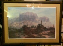 Vintage Signed, Matted And Framed Superstition Mountain Print By Scott Jennings