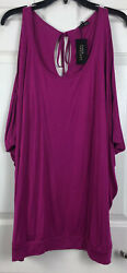 Nwt Lascana Size 1x Fuchsia Pink Bat Wing Cut Out Cold Shoulder Soft Knit Top