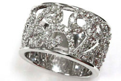 0.75 Ctw Natural Diamond Solid 14k White Gold Wide Paisley Stackable Ring 12 Mm