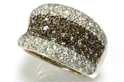 2 Ctw Natural Brown And White Diamond Solid 14k Yellow Gold Wide Statement Ring