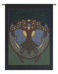 Celtic Tree North American Made Woven Tapestry Wall Hanging With Wooden Rod