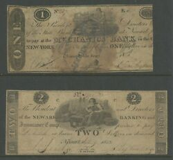 Newark, Nj 1 And 2 1822 Obsolete Bank Notes -- Very Scarce -- Bv578