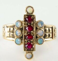 Divine 9k 9ct Indian Ruby And Australian Opal Art Deco Ins Long Ring Free Size