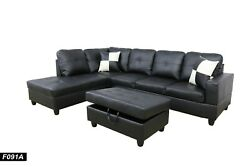 3PCS Living Room Sectional Sofa set with Ottoman Black Leather
