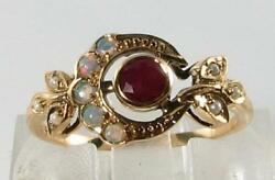 Divine 9ct 9k Sun Moon Crest Indian Ruby Opal And Pearl Art Deco Ins Ring Free Sz