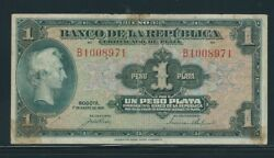 Colombia Banknotes 1 Peso 1941 Silver Certificate 7 Digits