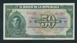 Colombia Banknotes 50 1950 6 Digits