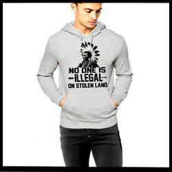 Native American Land Quote Hoodie Tribe Warrior With Headdress Grey Pullover New