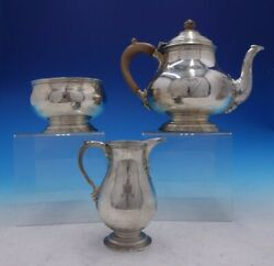 Estate English Silver Three Piece Tea Set With Wood Handle And Finial 4235