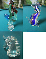 Murano Italy Glass Unicorn Figurine Sculpture Cat Rooster Pick One 1