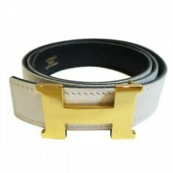 heb368 HERMES H buckle Constance Belt 88cm White  Black  Gold Plated Size 72