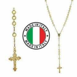 Rosary Beads Necklace 24andrdquo 14k Gold Over Solid 925 Sterling Silver Unisex Italy