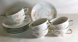6 Haviland Limoges Lucille Cups And Saucers