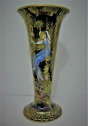 Wedgwood Fairyland Lustre Z4968 C1920 7.75 Butterfly And Firblogs Trumpet Vase