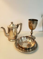 A Beautiful Lot Of Antique/vintage Silver And Silver Plated Items 4 Pieces.
