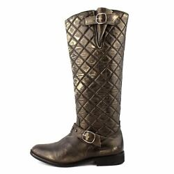 Golden Goose Golden Metallic Quilted Leather Tall Buckle Boots Sz 38 / 7.5