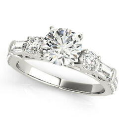 1.67 Ct Real Diamond Engagement Ring Size 6 7 Solid 14 K White Gold Womens Rings