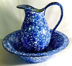 Stangl Blue Town And Country Large Pitcher And Bowl Set