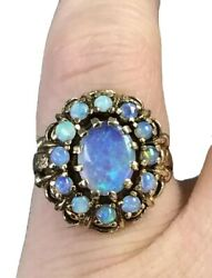 Gorgeous Vintage 14k Yellow Gold Vibrant Opal Cluster Ring Etched Band Sz 5.25