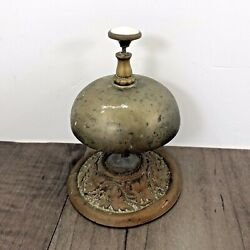 Authentic Antique Hotel Counter Top Service Brass Desk Call Bell 1870's Working