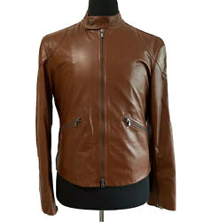 R-1196875 New Tods Brown Lambskin Leather Zip Motorcycle Jacket Size M