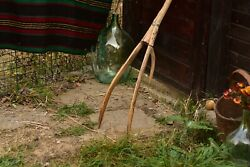Old Pitchfork Antique Hay Fork Wooden Primitive Farm Tool Country Wall Decor