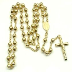 Mens 14k Yellow Gold 6mm Crucifix Chain Rosaries Necklace Cross Pendant 26