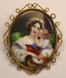 Antique 19th Century Swiss Enamel In 14k Gold Mother And Child Portrait Pin