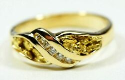 Gold Nugget Ladies Ring Orocal Rl612d10 Genuine Hand Crafted Jewelry - 14k Cas