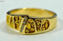 Gold Nugget Men's Ring Orocal Rm882dn Genuine Hand Crafted Jewelry - 14k Casti