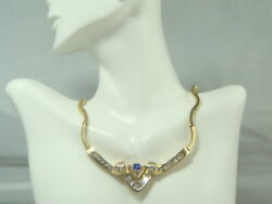 14k Yellow Gold Ladyand039s Fancy Necklace With Genuine Tanzanite Stones And Diamonds