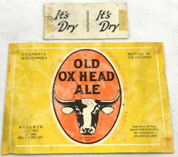 Irtp Vintage Old Ox Head Ale Beer Label 1935 Rochester New York Neckband 12oz