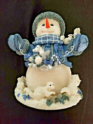 Darling Westland Music Box Frosty The Snowman 11 Tall White Blue, Silver