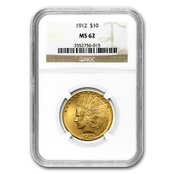 1912 10 Indian Gold Eagle Ms-62 Ngc