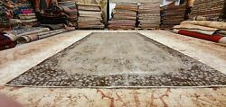 Antique 1930-1940and039s Distressed Wool Pile Overdyed Oushak Area Rug 5and03910 X 10and039
