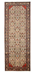 Vintage Oriental Malayer Runner 4and039x10and039 Ivory/pink Hand-knotted Wool Pile