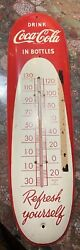 Rare Vintage 1950and039s Coca Cola Soda Pop 30 Metal Cigar Thermometer Sign - Works