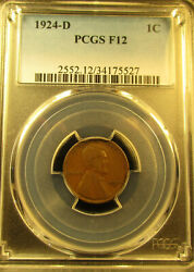 1924-d Lincoln Wheat Cent Penny  Pcgs  Registered  F-12   1124196