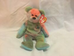 Rare Ty Beanie Baby Peace Bear - Original Collectible 1996 - With Tag Errors