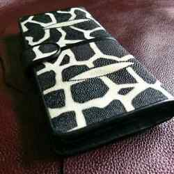Girrafe Motif Pull Up Cow Leather Wallet Women Christmas Gift Hand Bag Clutch