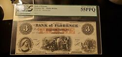 Bank Of Florence Nebraska 3 Pcgs 55 Ppq 1850s Obsolete Currency Remainder Note