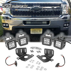 For Chevy Silverado 1500 Bumper 4x Led Fog Light Pods Mount + Wire Connector Kit